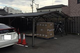台風被害の自転車置き場