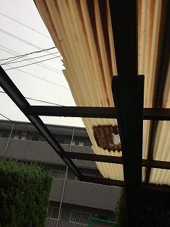 カーポート屋根材の欠損